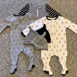 Footie Pajama and Hat Bundle